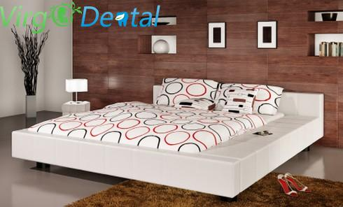 Leather Bed 180 x 200 cm White