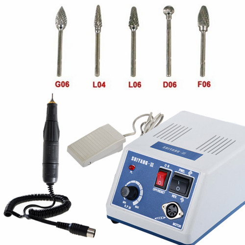 Marathon Electric Dental Laboratory Nail Drill Micro Motor Complete Set with 10P...
