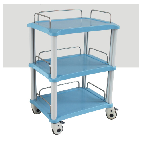 3 Trays Dental Instrument Cart Blue / Pink Rolling Trolley Cart YA50R ABS Made