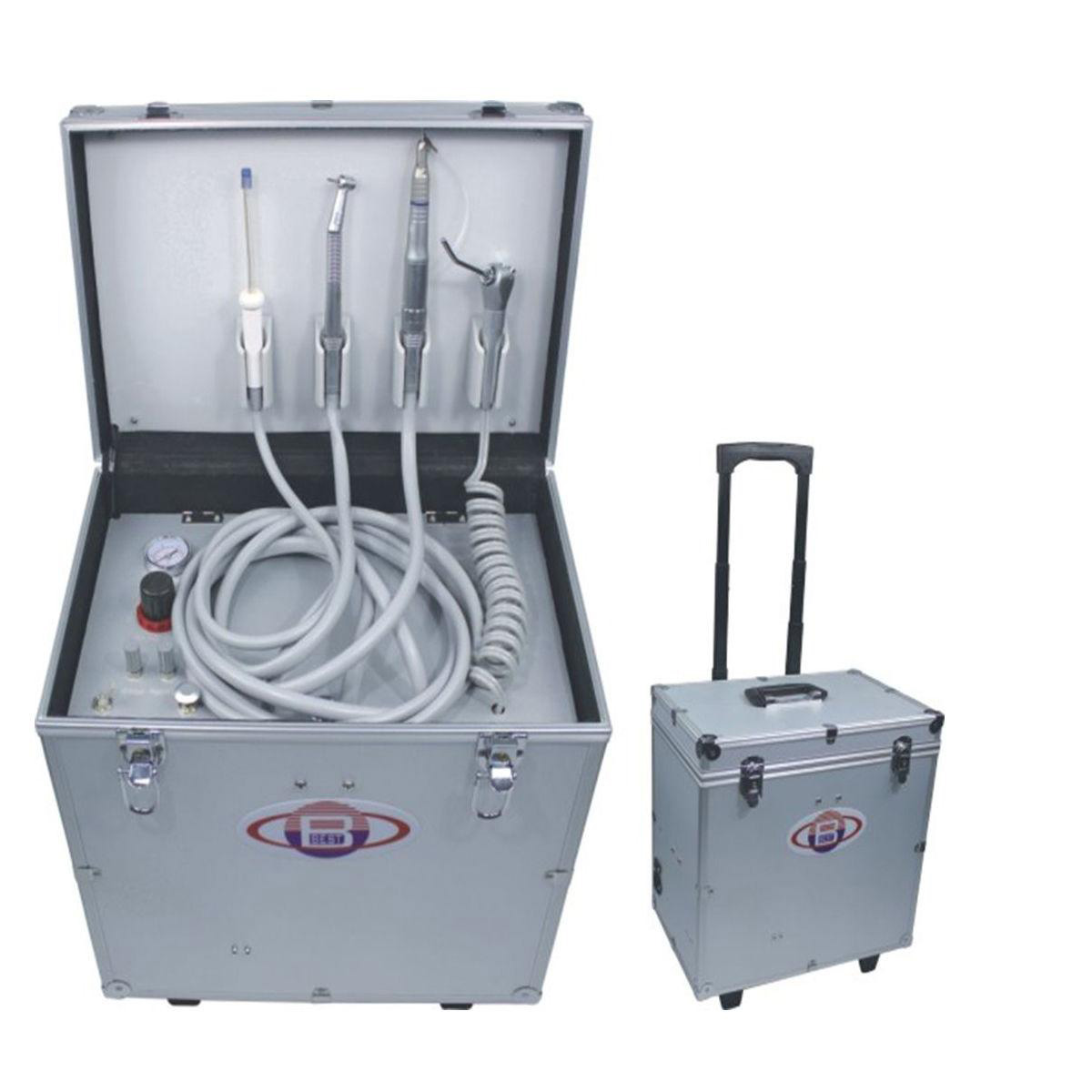 Dental Portable Turbine Unit W/ 3-Way Syringe+Suction+Air Compressor+HP Tube 2/4...
