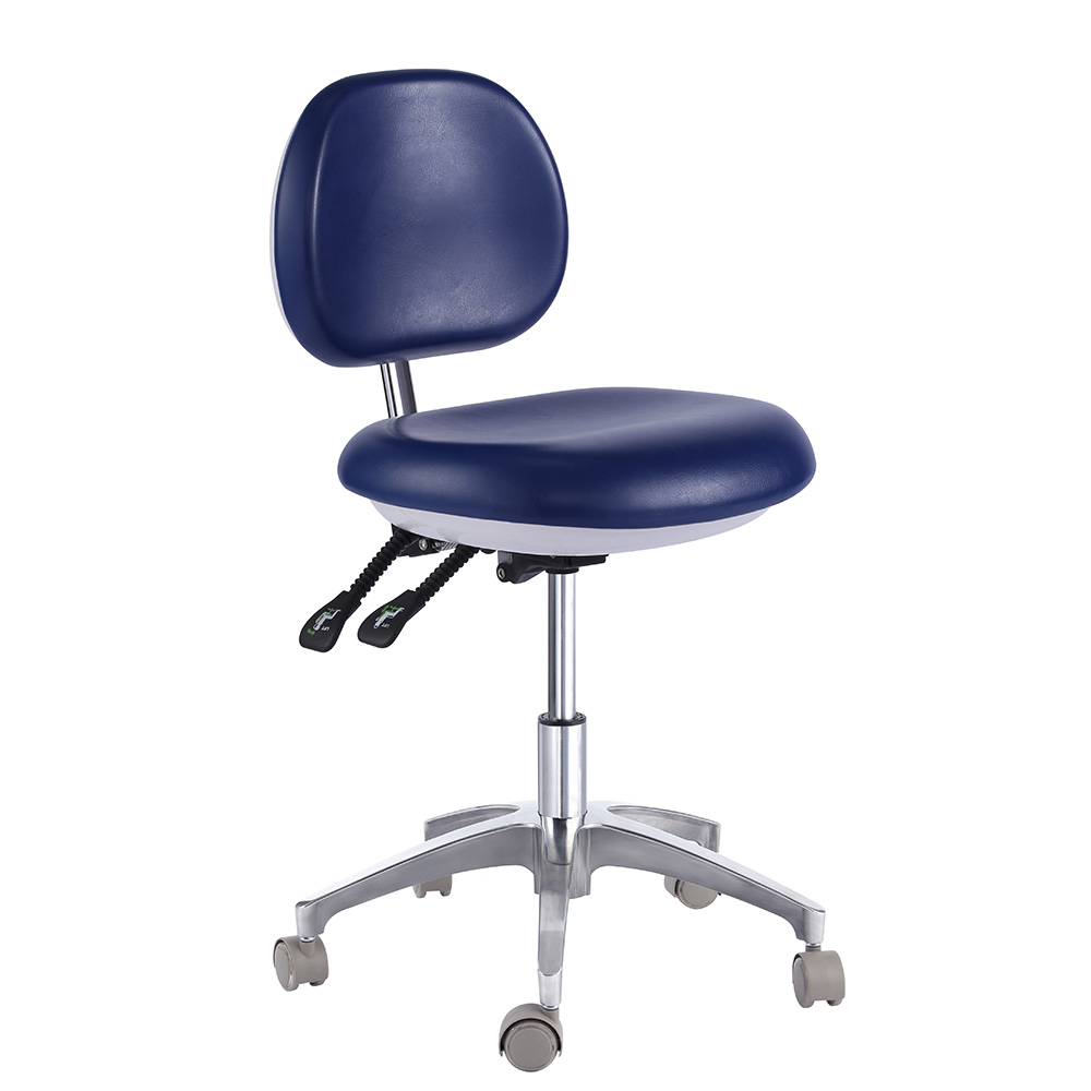 Dentists Stool Height Adjustable PU Leather in Green or Blue QY-500