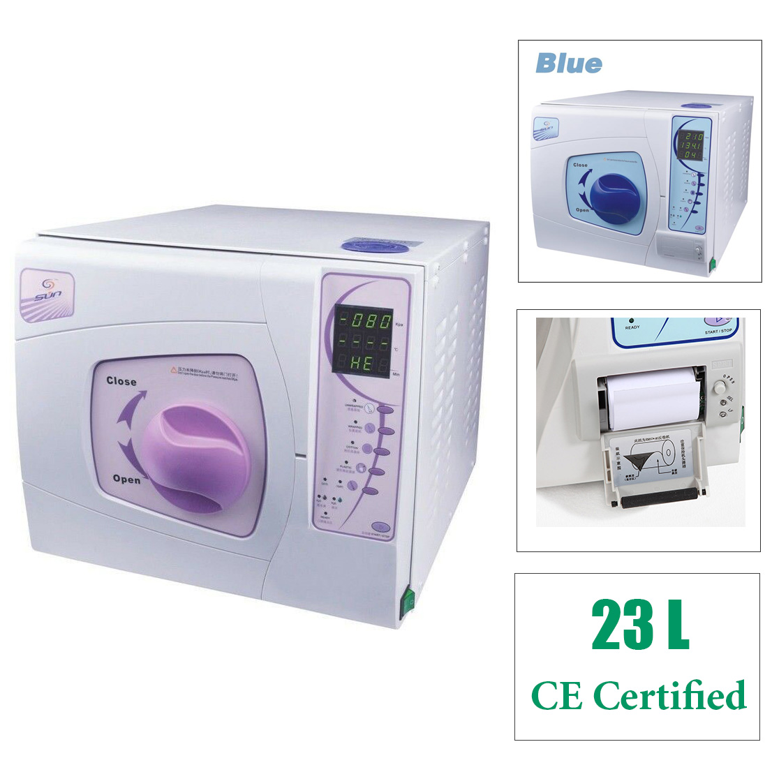 Sun 23L Class B Autoclave Steriliser Vacuum Steam Machine with Printer Medical G...